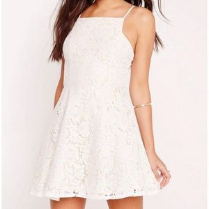 Missguided Square Neck Lace Skater Dress